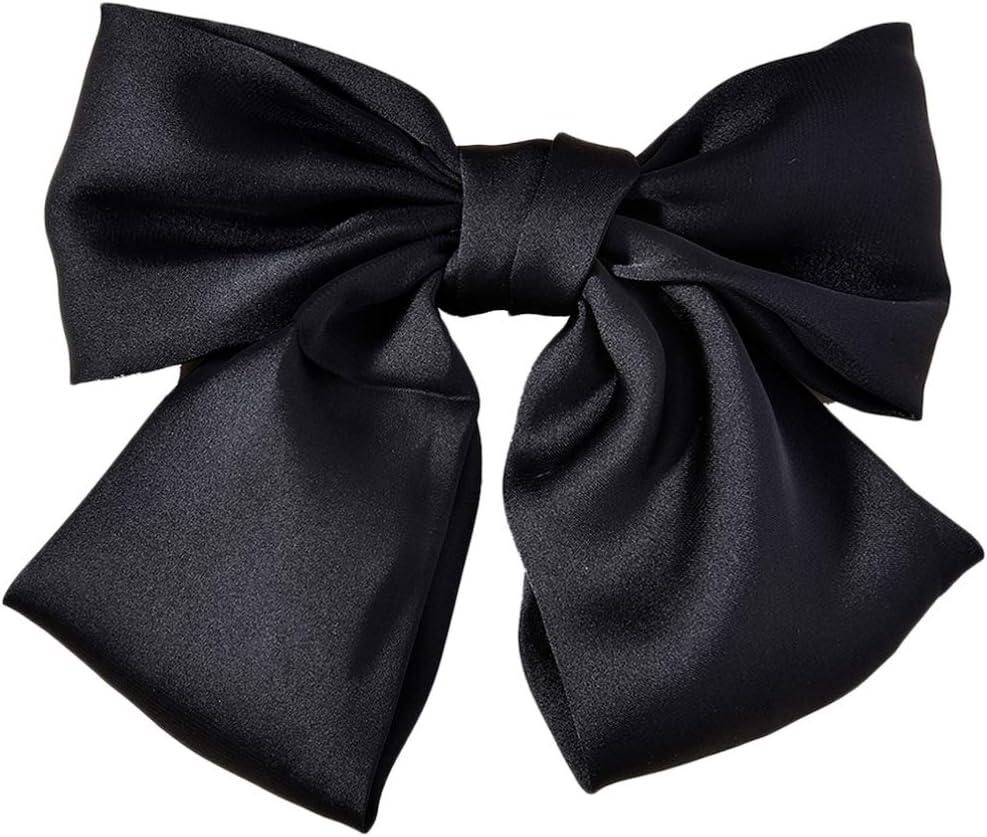 Pixnor Pinza de Pelo con Lazo de Satén Grande Pasador de Pelo con Pasador de Pelo Pinza de Pelo de Primavera de Moda para Mujer (Negro)