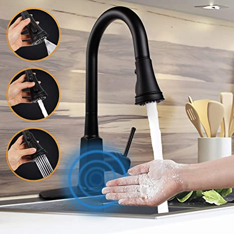 Motion Sensor Touchless Single-Handle Pull-Down High Arc Rotatable Kitchen Faucet w/Dual Sprayer Hot Cold Water Mixer (Chrome)
