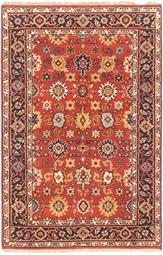 eCarpet Gallery Area Rug for Living Room, Bedroom | Hand-Knotted Wool Rug | Serapi Heritage Bordered Brown Rug 3'10