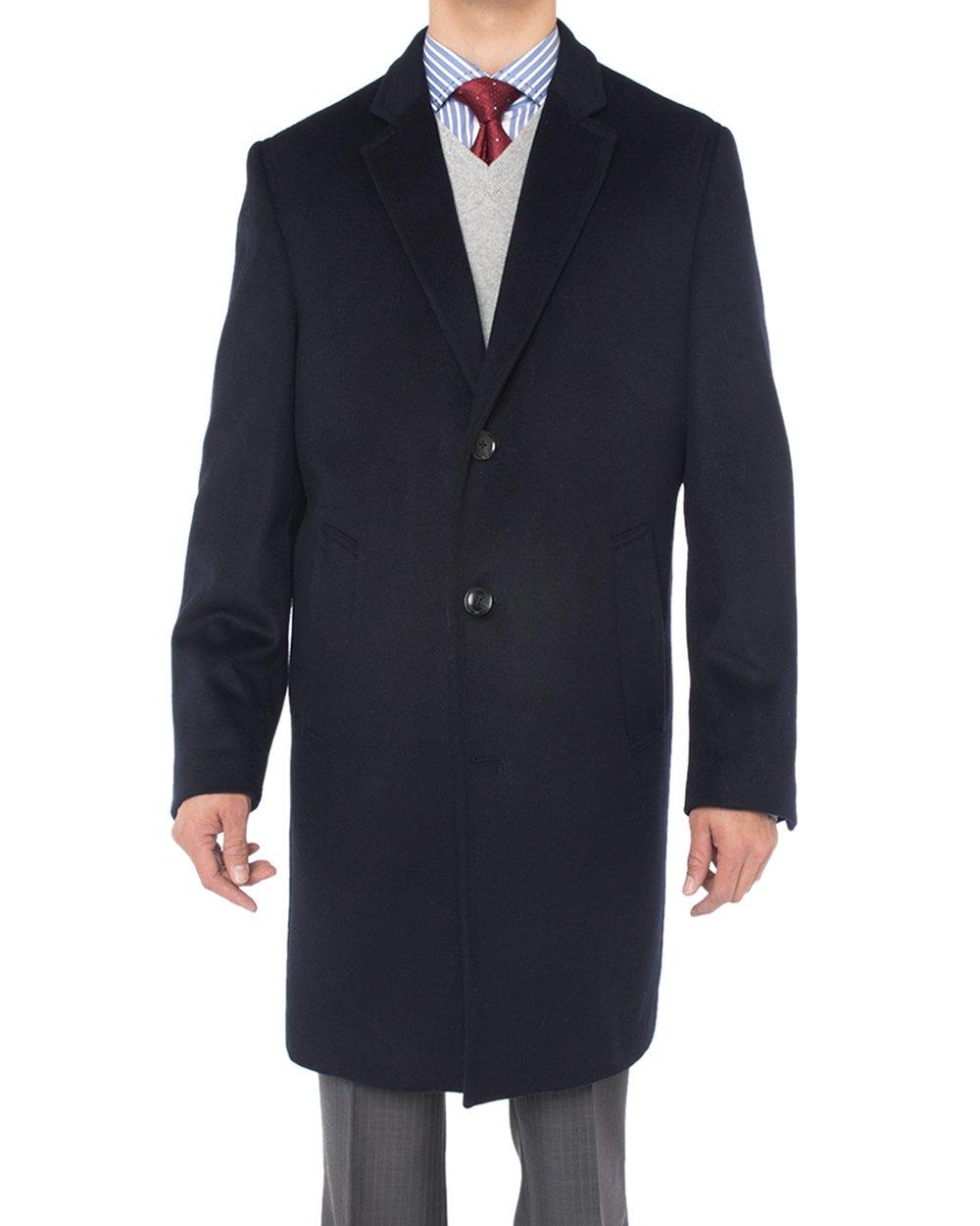 Luciano Natazzi Men's Cashmere Wool Overcoat Knee Length Trench Coat Topcoat (52 US - 62 EU, Navy Blue) by Luciano Natazzi