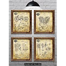 "Great Biker Gift for Harley Riders - Set of Four 8""x10"" Vintage Harley Patent Prints (set#2)"