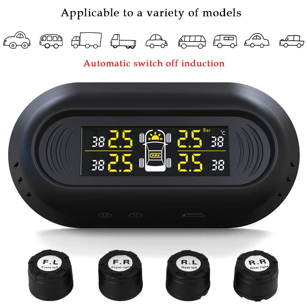 Lovestoryeu TPMS Car Tire Pressure Monitoring System Wireless Solar Powered Installed on Window Pane with 4 External Sensors LCD Real-Time Display for Cars SUV Trucks MPV