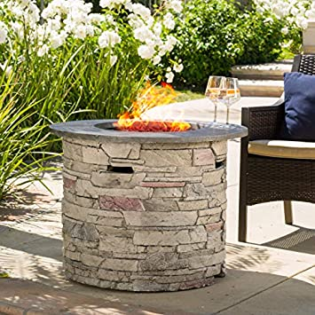 Great Deal Furniture Rogers Propane Fire Pit Round 32 with Grey Top – 40,000 BTU