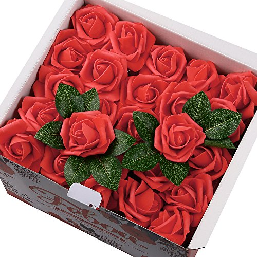 - Febou Artificial Flowers, 100pcs Real Touch Artificial Foam Roses Decoration DIY for Wedding Bridesmaid Bridal Bouquets Centerpieces, Party Decoration, Home Display (Concise Type, Red)