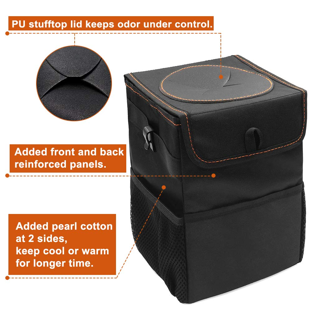 Car Trash Can 100/% Leakproof Vinyl Inside Lining Car Trash Bin Bonus 30 Counts Disposable Trash Bag Foldable Automotive Garbage Can with Lid and 3 Storage Pockets Portable Car Accessories