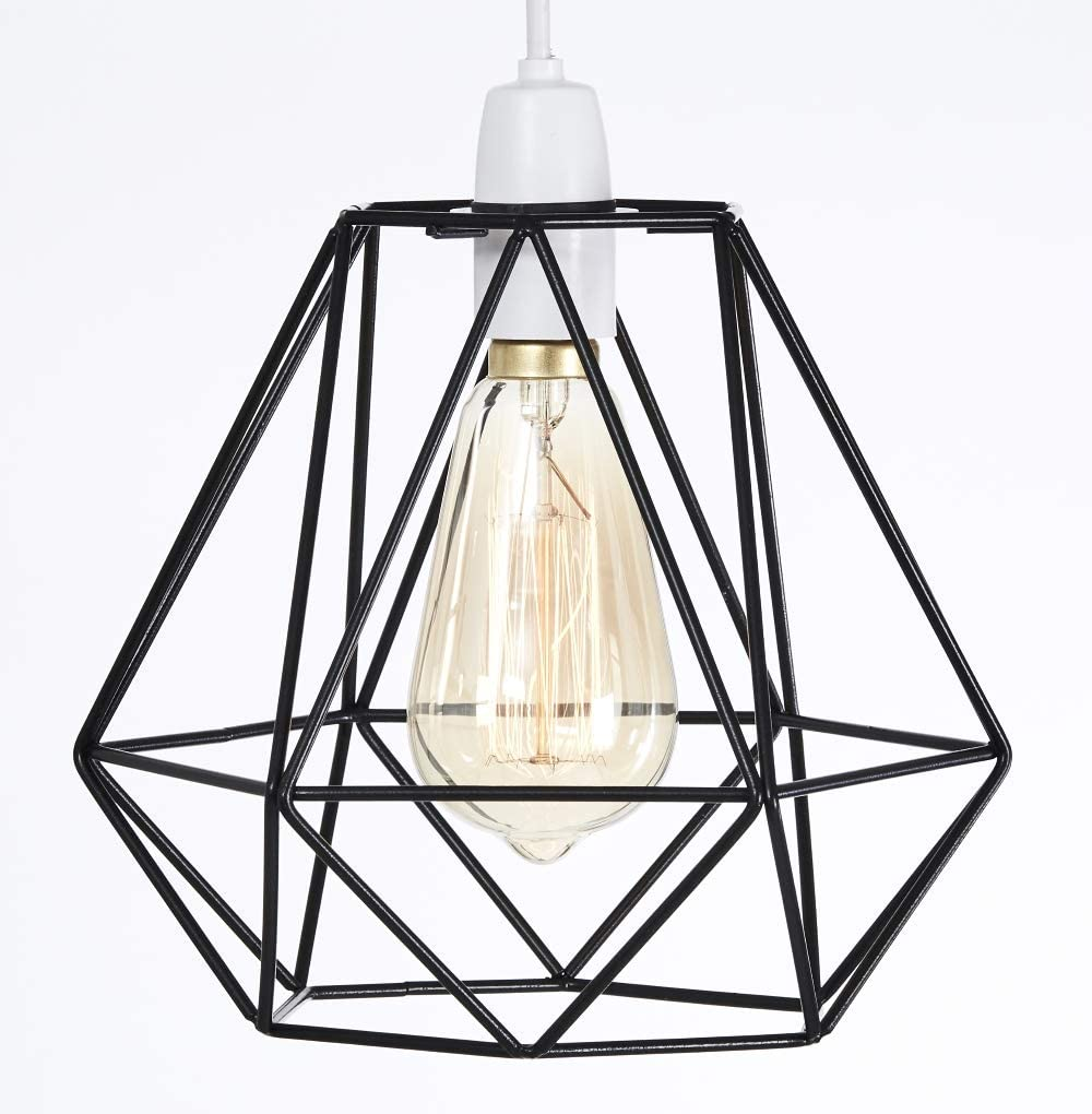 Metal Wire Basket Cage Style Light Shade Funky Retro Modern Industrial Vintage Look Easy Fit Black Amazon Co Uk Kitchen Home