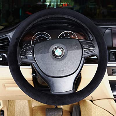 Car Steering Wheel Cover Winter Warm Universal Wool Premium Faux Car Steering Wheel Plush Cover 15 Inch Middle Size Auto Anti-slip Wheel Cushion Protector Auto Comfortable Thermal Steering Wheel Cove: Automotive