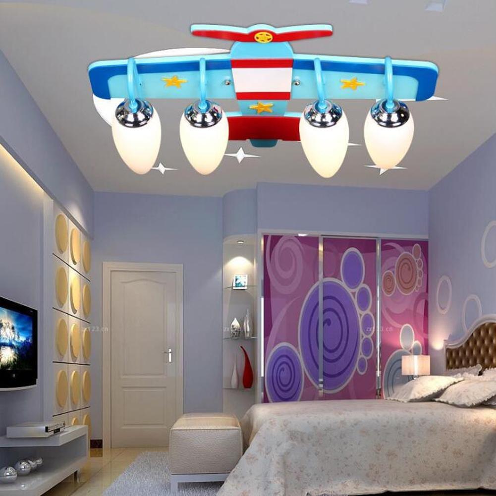 Wei-d Creative LED Chandelier Children Room Lights Kindergarten Creative Study Bedroom Boy Plane Children Pendant Lamp , as picture