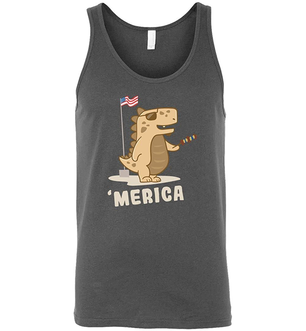 4th of July Dinosaur Shirts Merica Amerisaurus Rex Independence Rex Sleeveless Unisex Tank Top for Men and Women