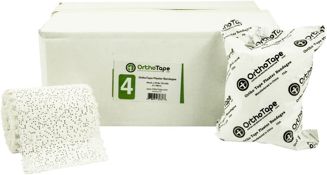 6 x 180 Inches 4-Pack Cloth Plaster Wrap Rolls for Arts and Crafts Projects