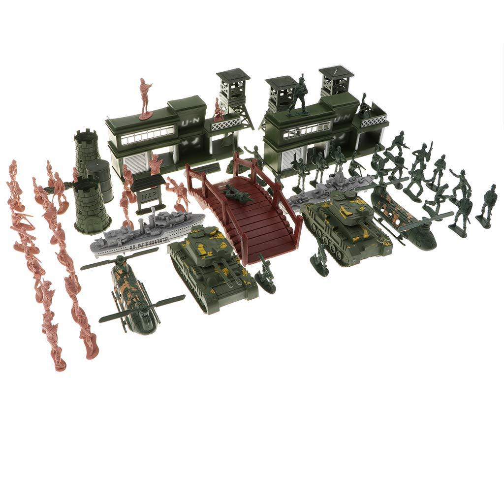 KESOTO 130 Pièces Armée Playset Jouet 5cm Soldat Armée Hommes Figurines Enfants Jouet