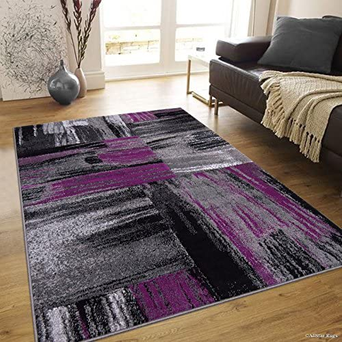 Allstar 5×7 Grey and Gainsboro Grey Modern and Contemporary Rectangular Accent Rug with Purple and Charcoal Grey Abstract Bidirectional Brush Design 4 11 x 6 11