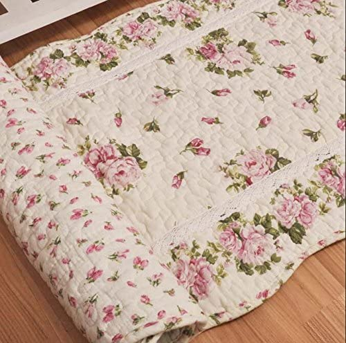 USTIDE Rustic Rose Flowers Area Carpet,Home Decor Cotton Pink Roses Pattern Bedroom Floor Rugs,Unique Quilted Washable Bathroom Rug 2×4 Pink