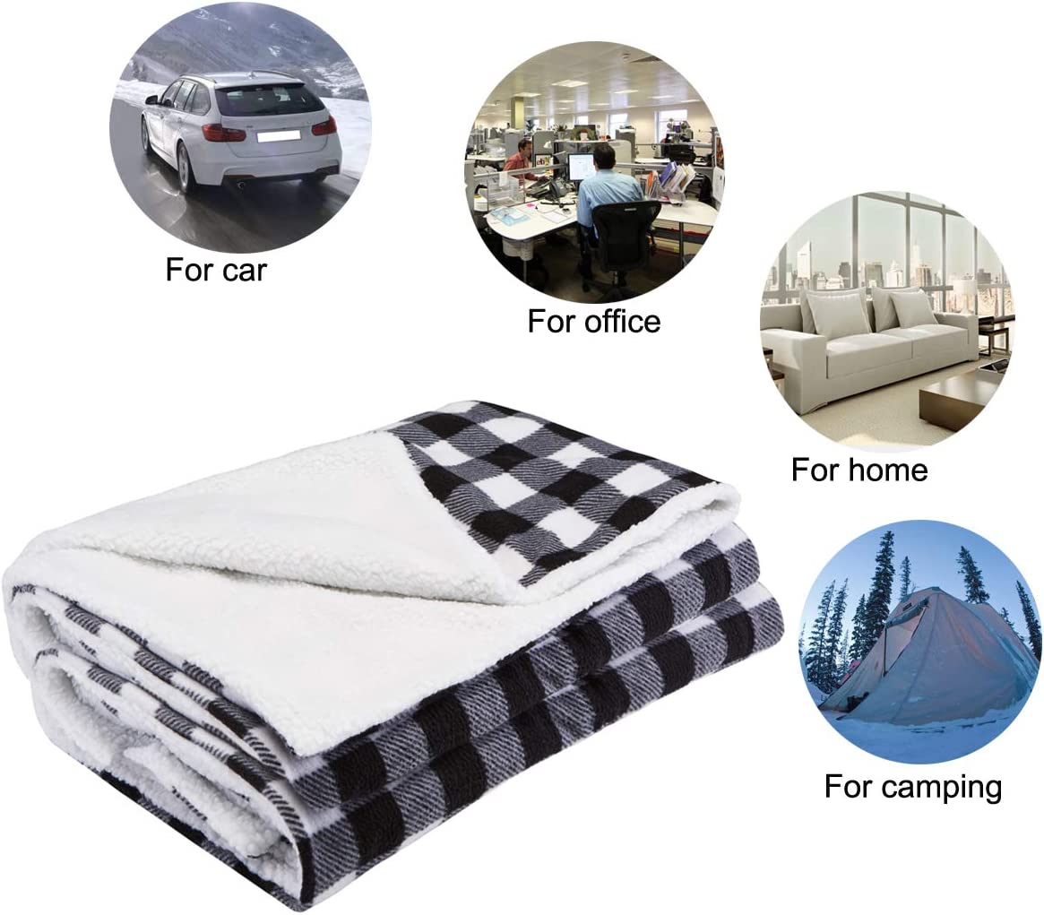 Cold Weather Use Camping Great for Car Black Gray White Plaid Big Hippo Electric Car Blanket 12V Reversible Sherpa//Fleece Heated Electric Travel Throw Blanket with 4 Temperture Adjustments