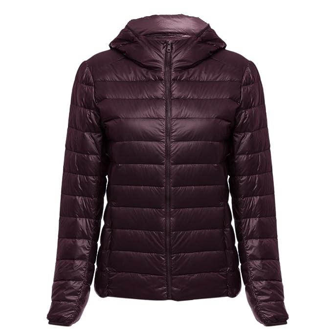 CharMma Chaqueta de invierno con capucha para mujer, abrigo de Parka, cálido, ultra ligera, prenda de exteriores. rojo rojo vino M: Amazon.es: Ropa y ...