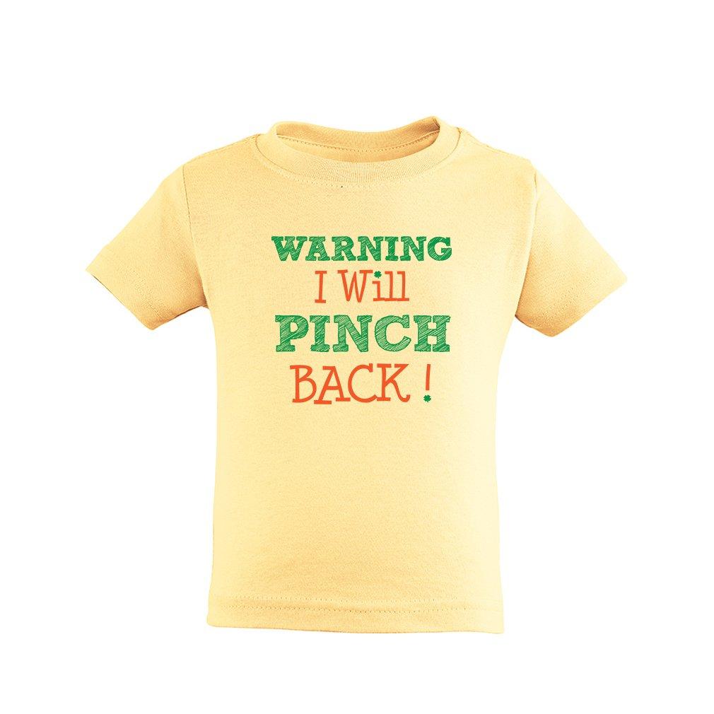 Apericots Warning I Pinch Back Shamrock Short Sleeve Toddler Tee Shirt