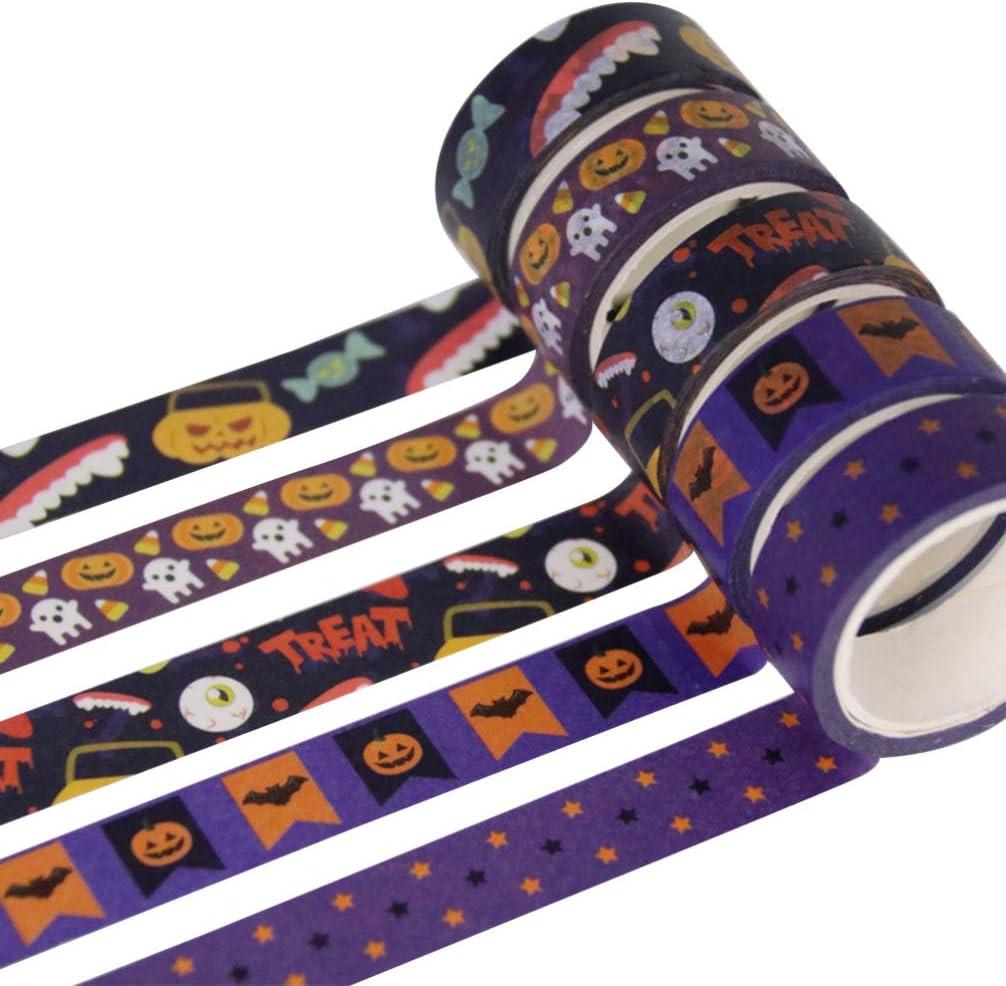 SUPVOX 5rolls Washi Tape Decorative Halloween Tape DIY Paper Wrapping Tape Pumpkin Ghost Eyeball Masking Tape Scrapbooking Accessory
