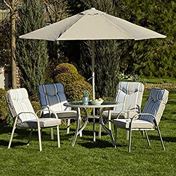 Outdoor 4 Seater Garden Patio Metal Dining Set W/ 2.5m Parasol U0026 Padded  Cushions