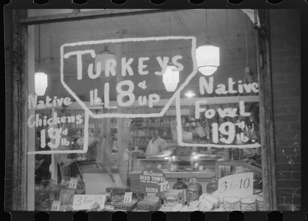 Vintography Reproduced Photo of A Butcher Shop Window at Thanksgiving time. Norwich, Connecticut 1940 Delano C Jack 90a