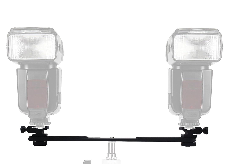 FINEX Full aluminum HS-2 Pro Adjustable Dual Flash Hot Shoe mount bracket plate head Umbrella Holder adapter for Video Lights, Microphones or Monitors, Nikon and Canon Speedlight 430EX 580EX SB600 SB800 SB900 Yongnuo YN560 YN568EX YN565EX