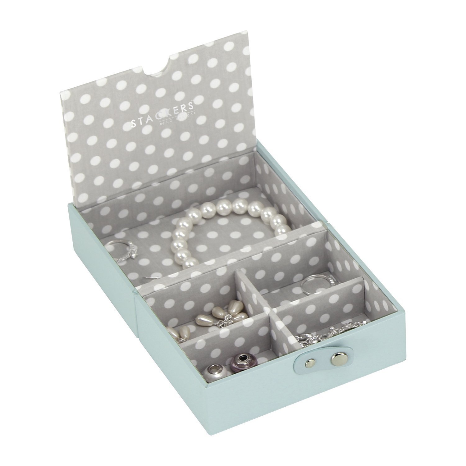 STACKERS ACCESSORY – Duck Egg Blue Travel Box STACKER ACCESSORY with Grey PolkaDot Lining Carters of London 73134