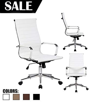 Cool 2Xhome Mid Century Modern Contemporary White Desk Ergonomic Office Chair With Arms Arm Rest Wheels Modern High Back Tall Robbed Pu Leather Swivel Tilt Inzonedesignstudio Interior Chair Design Inzonedesignstudiocom