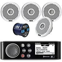 Audio Package: Fusion Marine AM/FM Bluetooth Receiver, 4X Fusion 4 High Performance 2-Way Marine Boat Yacht 120W Speakers, Enrock Marine Grade Spool of 50 Foot 16-Gauge Tinned Speaker Wire
