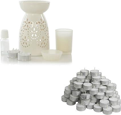 Quemador de aceite, aceite perfumado y portavelas incluye 100 IKEA GLIMMA velas cera quema velas ideal Set de regalo: Amazon.es: Hogar