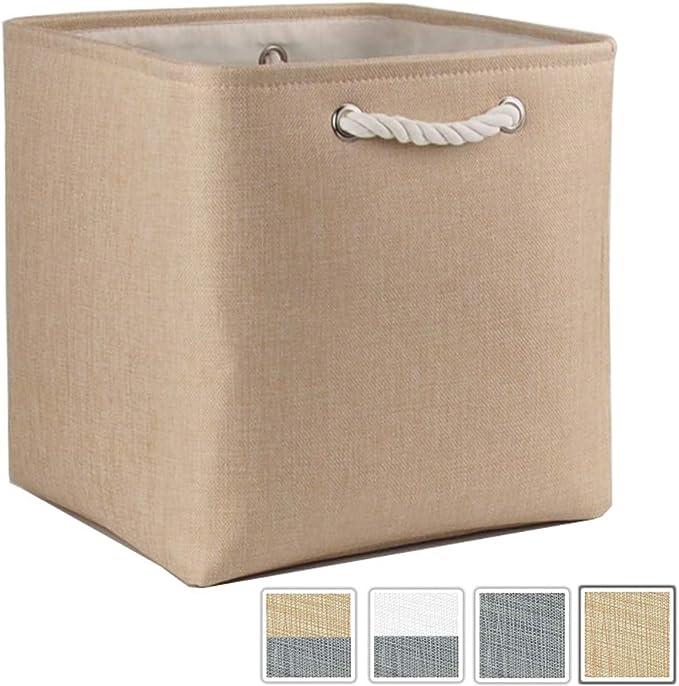 Mangata - Caja De Almacenamiento Plegable, 33 x 33 x 33 cm (Beige, 1 Pack): Amazon.es: Hogar