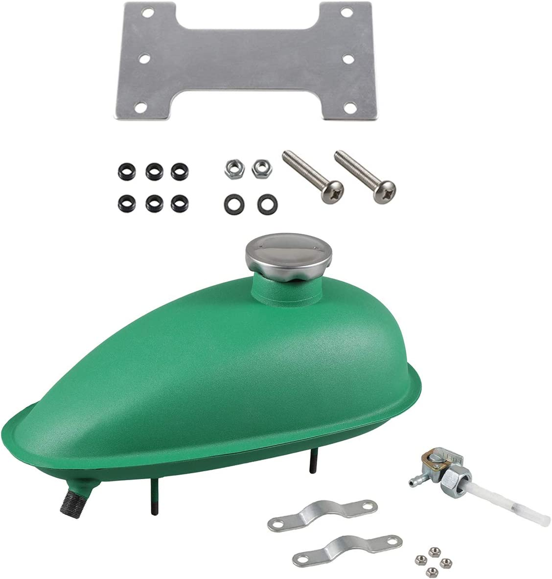 NorthTiger 2L Fuel Gas Tank Mounting Kit 80cc 60cc 66cc 49cc Motorized Bicycle Green Fuel Gas Tank+Mounting Kit