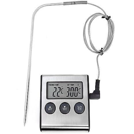 COM-FOUR® Termómetro de tostado digital hasta 250 ° C, con cable y