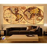 "Xlarge 30""x 70"" 5 Panels 30x14 Ea Art Canvas Print Original World Map Old Vintage Rustic Wall Decor Home Office Interior (Included Framed 1.5"" Depth)"