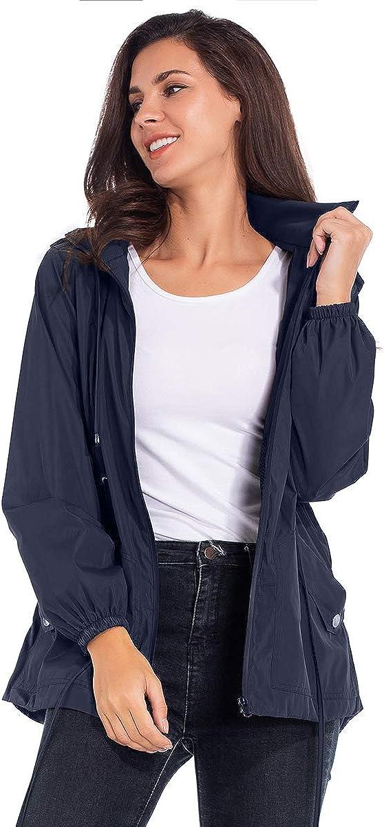 Womens Lightweight Packable Waterproof Hooded Drawstring Waist Rain Jacket