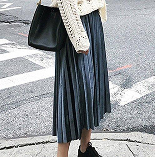 Falda Mujer Larga Vintage Retro Terciopelo Plisada Faldas Negro Azul Gris