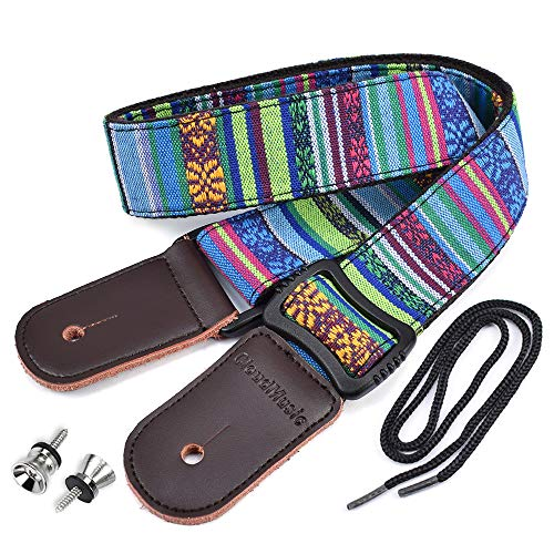 CLOUDMUSIC Colorful Hawaiian Vintage Ethnic Cotton Ukulele Strap Blue For Soprano Concert Tenor Baritone Strings Instruments (National Blue)