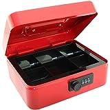 Caisse de 20,3cm avec serrure à combinaison et 5sections à plateau pour pièces amovibles–Rouge
