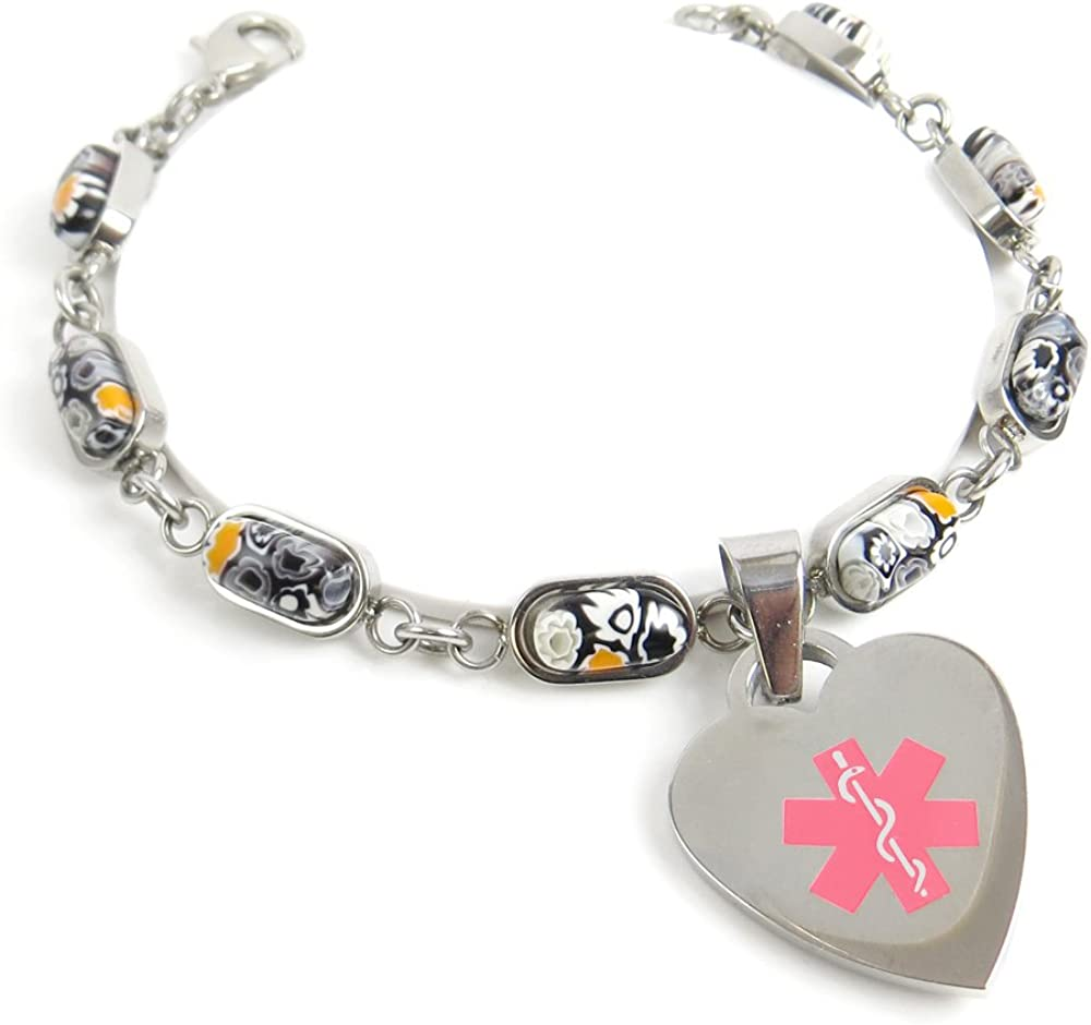 Red Millefiori Glass Pre-Engraved /& Customized Peanut Allergy Charm Alert Bracelet My Identity Doctor