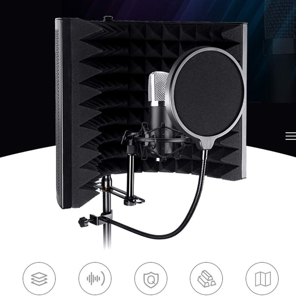 1 Schwarz Mikrofon-Pop-Filter-Isolator-Reflektor-Panel mit absorbierendem Schaumstoff f/ür Aufnahmeausr/üstung Studio Verstellbarer Schallschutz LZDseller01 Faltbarer Mikrofon-Isolationsschutz