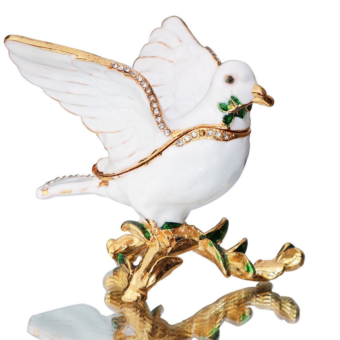 Waltz&F Peace Dove Trinket Box Hinged Hand-Painted Figurine Collectible Ring Holder with Gift Box