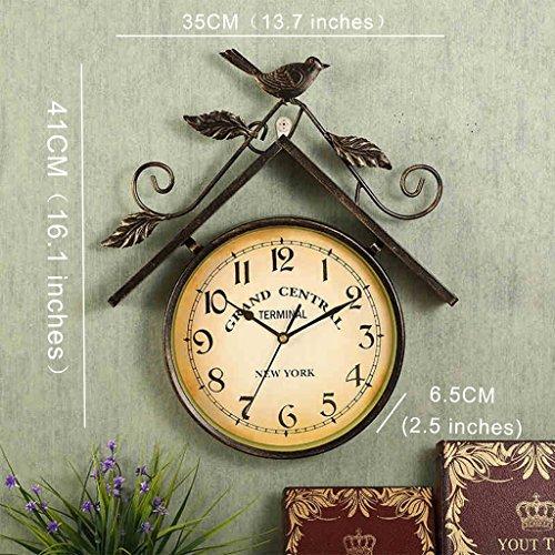 7 café inches pour 13 décoration de Size Cadeau stéréo enfants de Horloge murale douce vintage Creative d'oiseau américain surprise 35CM décoration boutique Horloge d'anniversaire fer 7SUBfwgqU6
