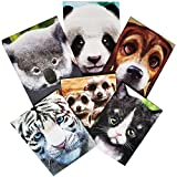 Back to School Supplies - Cute Animals School Folder Assortment - 6 Items Include: Kitty, Panda, Puppy, Koala, Tiger, and Meerkat.