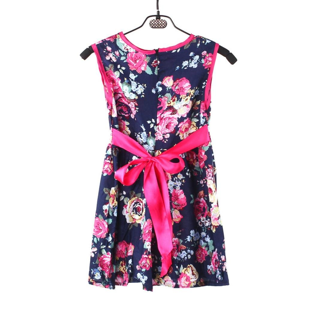 Residen 1-7 Years Girls Flower Princess Party Skirts Kids Formal Sleeveless Floral Dress