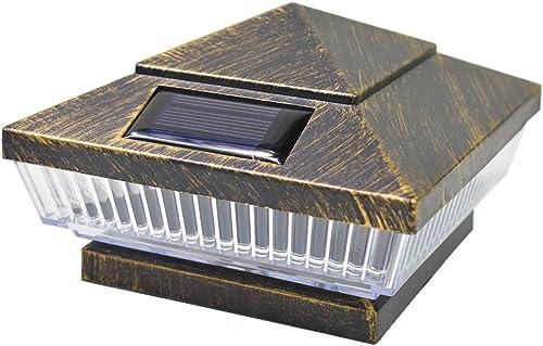 iGlow 1 Pack Vintage Bronze Outdoor 4 x 4 Solar 5-LED Post Deck Cap Square Fence Light Landscape Lamp PVC Vinyl Wood