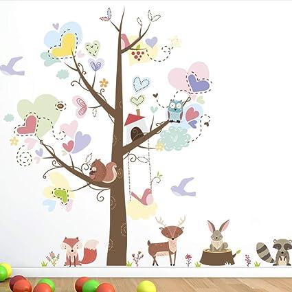Amazon Com Meaosy Cartoon Owls Squirrel Large Trees Love Heart