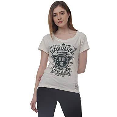 373d32f2c Dublin Emerald Isle Ireland Ladies T-Shirt with Cream Neps Yarn Design:  Amazon.co.uk: Clothing