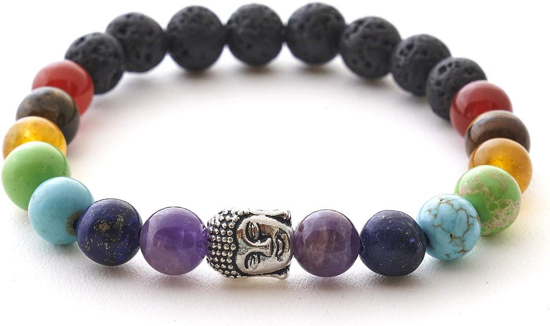7 Chakren Buddha Armband Mit Naturstein Und Lavastein Perlen Bergerlin Feel Goods Amazon De Schmuck