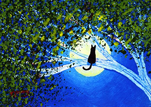 Black Cat Folk art PRINT by Todd Young SPRING MOON (Chat Spring)