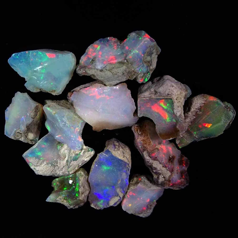 Ethiopian Rock Raw Crystals Gemstone DIY Jewelry Making Supplies Energy Stone Natural Opal 50 carats A+ Rainbow Opal Rough Stone Opal for DIY Jewelry Gifts Chakra Healing