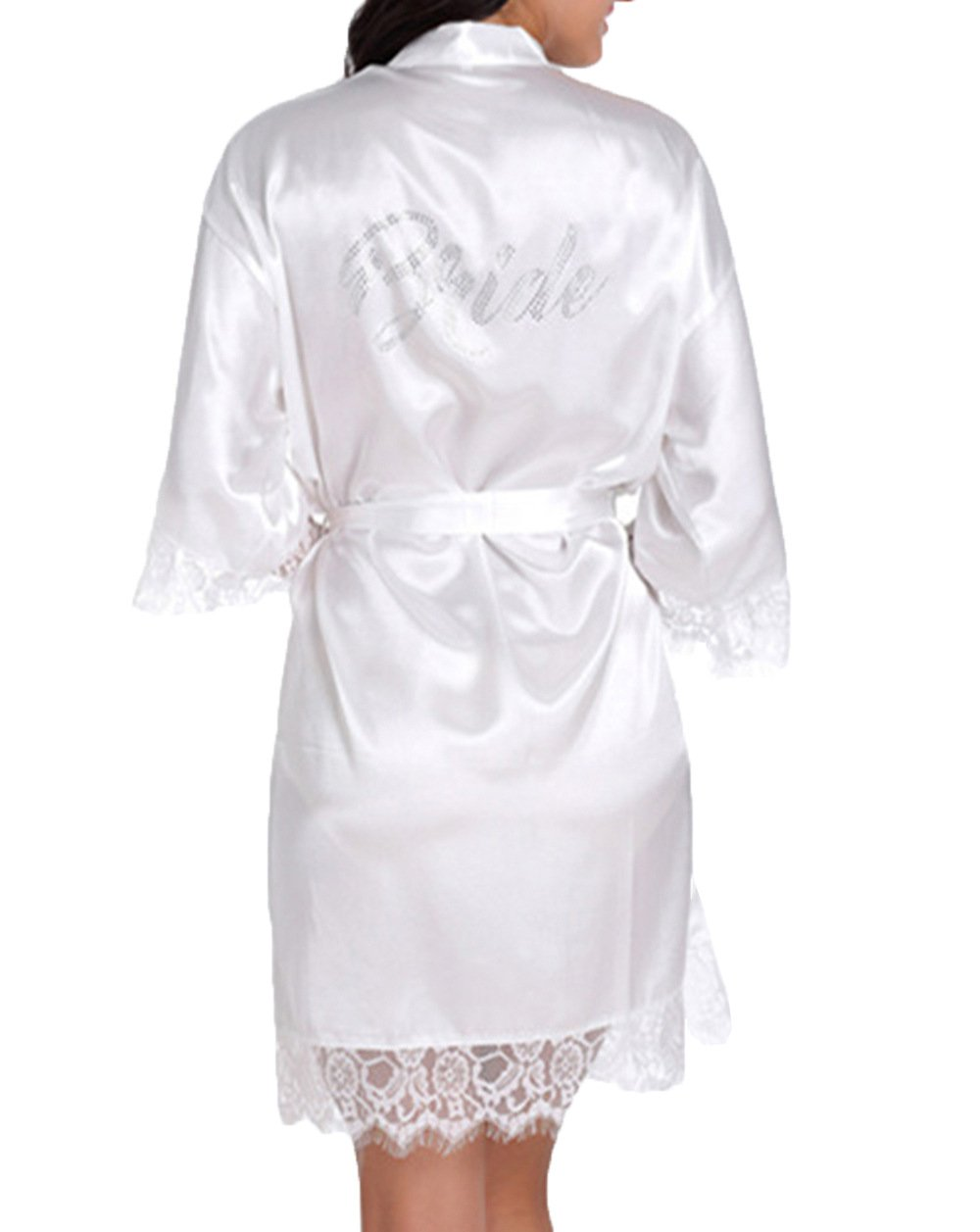 WPFING Bride Robes White Lace Bridal Party Robes Rhinestone Satin(Bride White,Large)