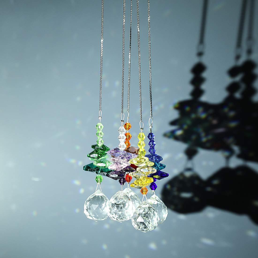 Party H/&D H/ängender Kristall-Kronleuchter Prismen-Anh/änger mit Geschenkbox Garten Dekoration f/ür Geburtstag Sonnenf/änger Fenster Kristalle